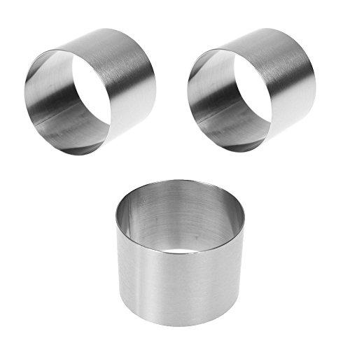 3PCS Edelstahl Mini-Runde Food Gebäck Ring Mousse Kuchen Form, Oberfläche gebürstet Behandlung, langlebig, keine Fingerabdrücke, verschleißfest, 5,1cm Durchmesser, 3,8cm Höhe Kleine Flan-ring