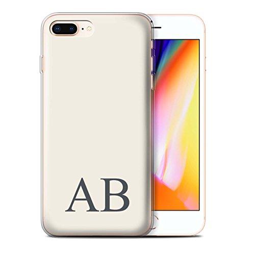 Personalisiert Pastell Monogramm Gel/TPU Hülle für Apple iPhone 8 Plus / Korallen Design / Initiale/Name/Text Schutzhülle/Case/Etui Elfenbein