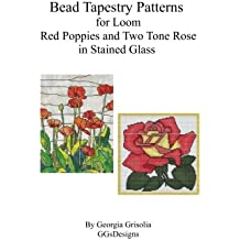 Bead Tapestry Patterns for Loom Red Poppies and Two Tone Rose in stained glass