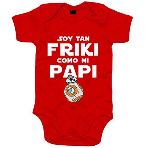 Body bebé Star Wars BB8 Soy tan friki como papi - Rojo, 6-12 meses