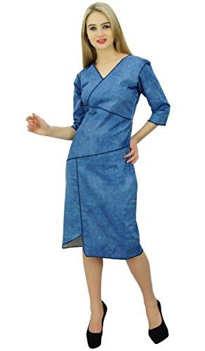 Bimba denim col v femmes robe manches 3/4 occasionnels robe de changement de longueur du genou formelle Bleu