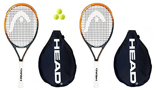 2 x Den Kopf Radikale Andy Murray 25 Tennisschläger Junior Graphit + 3 Bälle