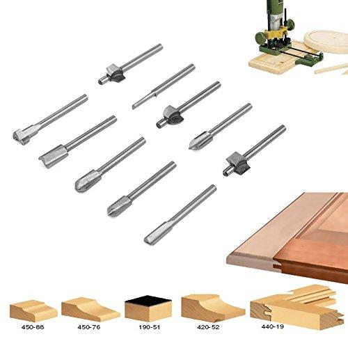Candora® 10pcs 1/8codolo Woodworking Mini HSS titanio Router bit file per Dremel Rotary Tool Set