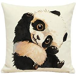 Cute Panda Animal Estampado lino cuadrado funda de almohada cojín (sin Core incluido
