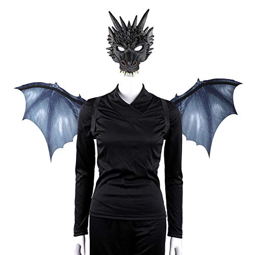 Kostüm Wings Dragon - Ganquer Halloween Dragon Wings Set Mit Maske Requisiten Bunte Party Kostüm Erwachsene Cosplay Maske Und Flügel Halloween Party Cosplay Requisiten