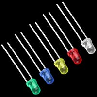 100 PCS Bombilla de luz LED de cinco colores de alto rendimiento Lámparas de diodo emisor de 2 pines de alta potencia Kit surtido súper brillante de 3 mm Rojo y azul y verde y amarillo y blanco