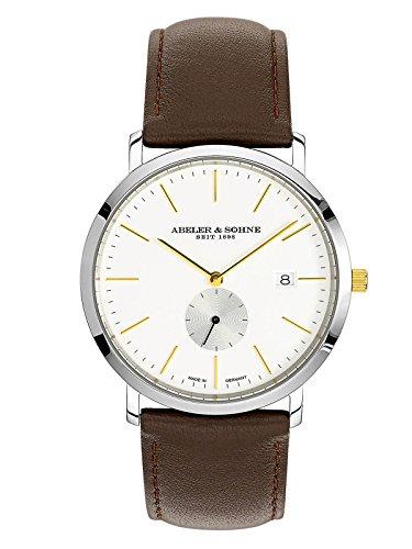 Abeler & Söhne Reloj de hombre fabricado en Alemania con cinta de piel, cristal de zafiro y fecha as1189