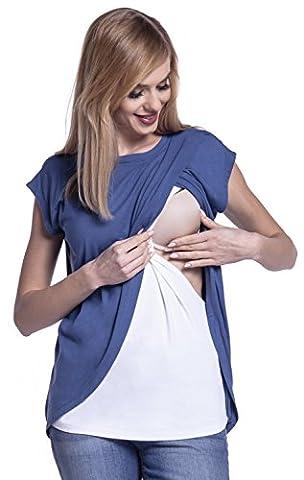 Happy Mama. Damen Umstandsmoden Top Stillshirt Lagendesign Wickeln-Schicht. 448p (Blau Jeans, EU 44, 2XL)