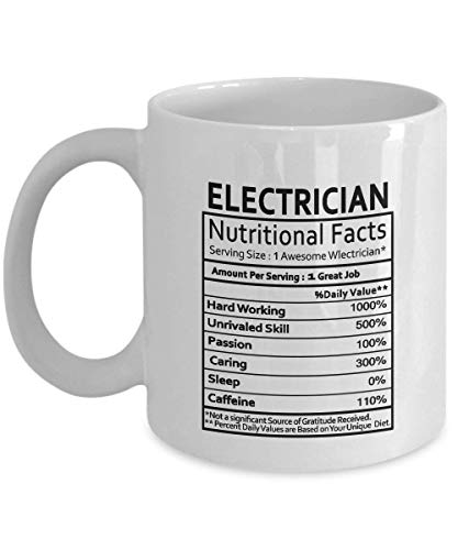 DHNKW Electrician Coffee Mug - Electrician Gifts Electrician Nutritional Facts Label - Gag Gifts for Christmas,Women, Men - Gifts idea for Electrician Mug, 11Oz Ceramic Tea Cup White Funny Mug! P0198 (Portable Label Maker)