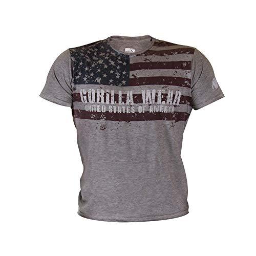 23bb742a25eb Gorilla Wear USA Flag Tee - grau - Bodybuilding und Fitness Bekleidung  Herren, XL