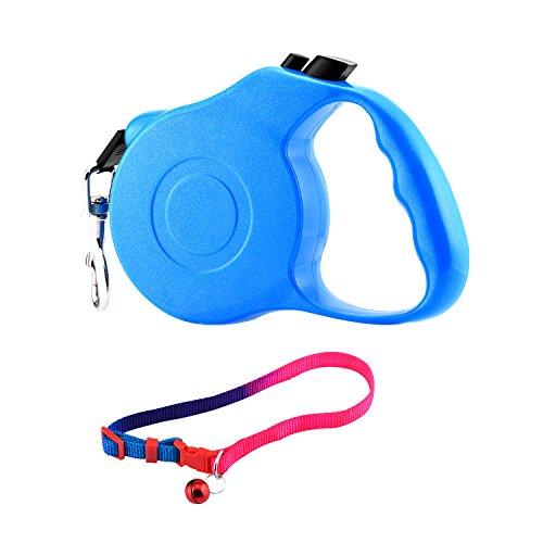 Correa de perro retráctil + collar de perro, plomo de la cinta para el entrenamiento, uso del patio trasero y perros que caminan (Azul, 3)