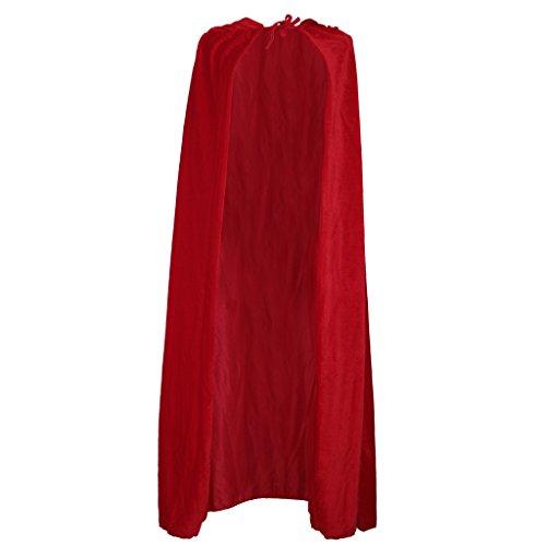 Baoblaze Umhang aus Samt mit Kapuze für Erwachsene zu Halloween, Karneval oder Fasching - Rot (Kapuze Mit Samt-cape)
