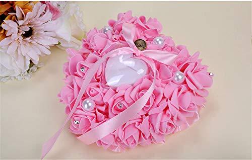 Western-Stil Hochzeit liefert Simulation stieg Braut Ring Kissen Schaum Monolayer herzförmigen Ring-Box (Color : Rosa) (Western-stil Hochzeit Ringe)