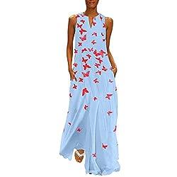 Fenverk Damen Lange Kleider Sommerkleid Leinenkleid Mode Tops Vintage Print Stickerei Oansatz Plus Größe Taschen Maxi Dress Einfarbig Bluse (C Blau,L)