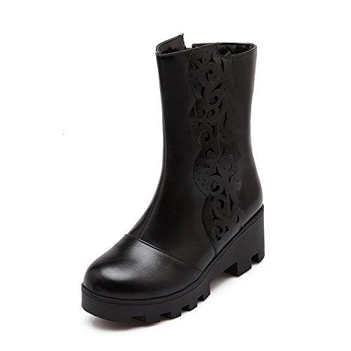 AgooLar Damen Mittler Absatz Blend-Materialien Niedrig-Spitze Stiefel, Schwarz, 36