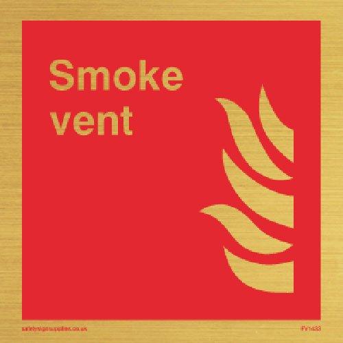 """Preisvergleich Produktbild Viking Schilder fv1433-s85-g """"Smoke Vent"""" Square Zeichen,  Kunststoff halbstarr Gold,  85 mm H x 85 mm w"""