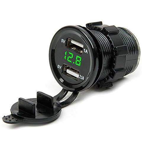 HARRYSTORE 12V DC Motorrad Auto 3.1A Dual Port USB LED Sockel Voltmeter Panel Auto Ladegerät