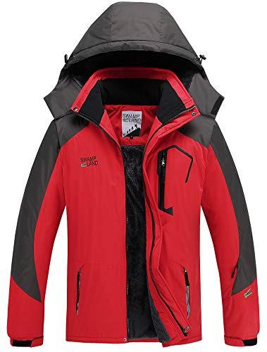 Warm Gefüttert Winterjacke Wasserdicht Atmungsaktiv Softshelljacke Herren Wanderjacke Outdoor Funktionsjacke Sport Regenjacke Rot XL