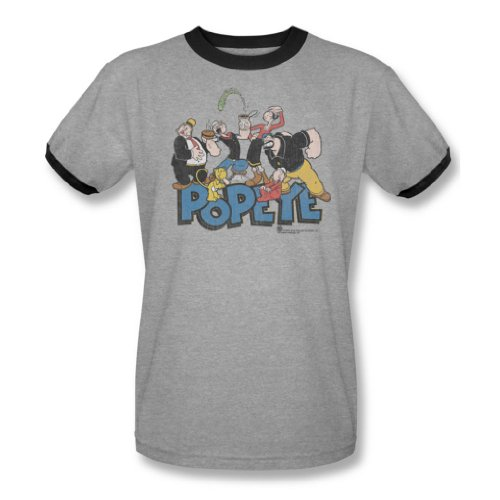 Popeye - Männer der Gang Ringer T-Shirt In Heather / Schwarz, XXX-Large, Heather/Black (T-shirt Heather Ringer)