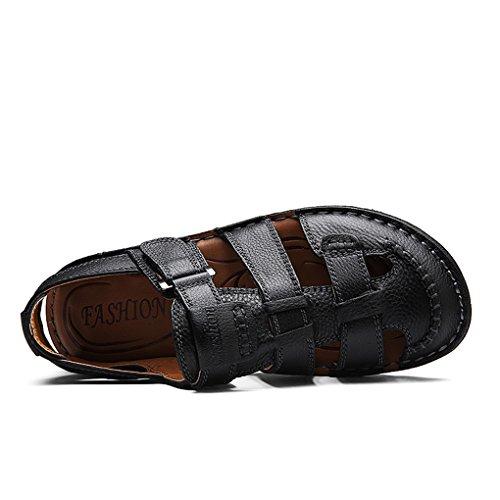 YY-Rui Sandales en cuir pour hommes Sandales d'extérieur fermées Noir