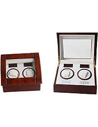 Lindberg & Sons UB8077BLBL - Estuche con rotor para relojes, 2 compartimientos, color café