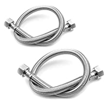 Pair of Flexible Pipes for Bathroom/Kitchen/Toilet Taps British Standard Pipe M10 x1/2 Fitting 500mm Long