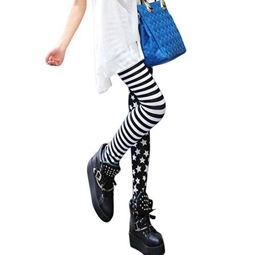Wenyujh Damen Mädchen Leggings Herbst Lang Sport Yoga Strumpfhose Schwarz Weiß Streifen Stern Patch Leggins Streetwear (Yoga Leggings Strumpfhosen)