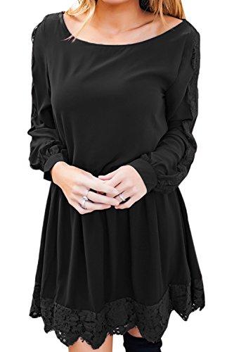 YACUN Donne Una Camicia A Maniche Lunghe Per Le Donne L'estate Tees Mini Vestito Black