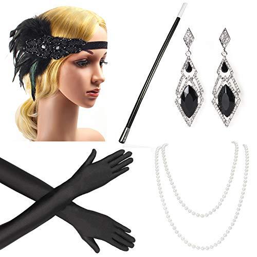 (Beelittle 1920er Jahre Zubehör Set Flapper Stirnband, Halskette, Handschuhe, Zigarettenspitze Great Gatsby Zubehör für Frauen (E4))