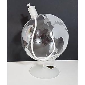 Lámpara de aceite redonda lámpara globo terráqueo con Petróleo kindersicherem mecha de soporte de cristal transparente vidrio soplado con mapa del mundo, satinada mesa decoración Altura aprox. 15cm nachfüllbar oberst dorfer Glashütte