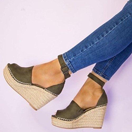 Xsj Damen Schuhe Wedges Sandalen High Heels Peep Toe Frauen Pumpen Plattform Schnalle Frauen Sandalen,ArmyGreen,37 (Gold Keil Pumpe)