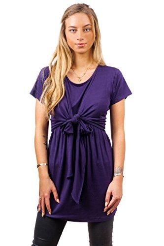 sofsy Haut de Maternité Haut Allaitement Ouverture Frontale Mélange Viscose Douce Haut Dark Purple 2 - Small