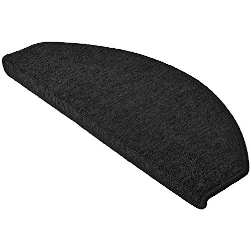 Beautissu 15 Large Stair Pads ProStair 28 x 65 cm Step Carpet Non Slip Adhesive Mat/Rug for Stair Tread Anthracite