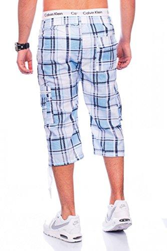 Men cargo shorts | Straight Fit · necks · Summer Bermuda plaid design · 3/4 Cargo Short · Leisure · Capri pants · Short walk shorts with elasticated waistband · plaid pattern | H1463 Max Men