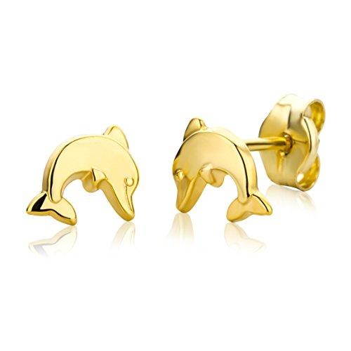 Miore Orecchino per Bambina Oro Giallo 9 Kt / 375  Piccoli a  Lobo con Delfino