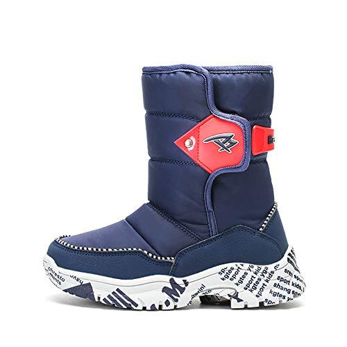SMILINGGIRL Kinder Schneeschuhe Jungen Mädchen Winter Gefüttert Kinder Stiefel Wasserdichte Outdoor Rutschfeste Gemütliche Lässige Warme Schuhe,Blue,15