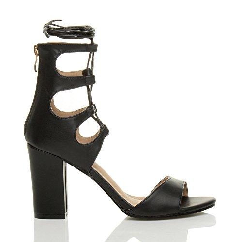 Donna tacco alto cerniera allacciare tagliare aperte punta scarpe sandali numero Nero opaco