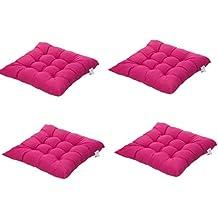 4 cómodos cojines para silla,Worsendy cojines de silla exterior,cojines de terraza,cocina de jardín Cojines de silla de comedor 40x40 cm Crema Cena silla Pad (Rosa)