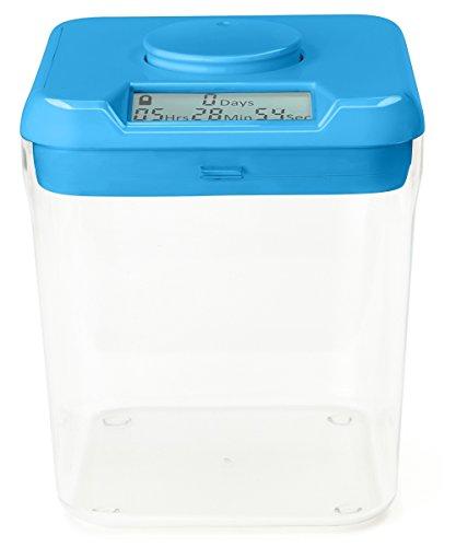 """Kitchen Safe: Verschließbarer Behälter mit Zeitschaltuhr (Blue Lid + Clear Base) - 5.5\"""" Height"""