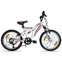 Vélo Fille Flamingo ACTIMOVER-Cadre Fourche télescopique-6 Vitesses par poignée tournante VTT 20'' Tout Suspendu, Blanc et Fushia