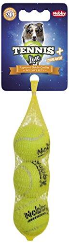 Nobby Tennisball mit Squeaker  XS 4,0 cm; 3er Netz