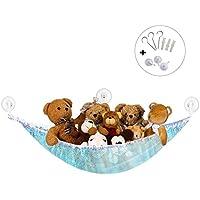 Preisvergleich für Syclecircle Dehnbar Spielzeug Hängematte Aufbewahrung Netz für Plüsch Kuscheltiere Groß Ecke Spielzeug Organizer für Kinderraum Schlafzimmer Badezimmer (Blau 180x120x120cm)