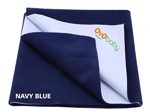 OYO BABY Waterproof Bed Protector Dry Sheet -Small (Navy Blue)