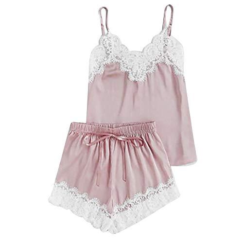 Zolimx Damen Sexy Satin Sling Nachtwäsche Dessous Spitze Bowknot Nachthemd Unterwäsche Zweiteilige Reizwäsche mit Strumpfhose Pyjamas Anzug -