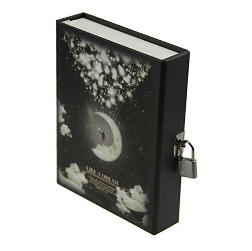 Notizbuch - Kreativ Tagebuch wie ein Traum Moonlight Pattern Journal Notizblock mit codierten Lock für gute und schlechte Sache zu behalten (4 Farben wird zufällig versendet) -