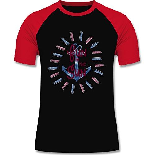 Statement Shirts - Fun in the sun - zweifarbiges Baseballshirt für Männer Schwarz/Rot
