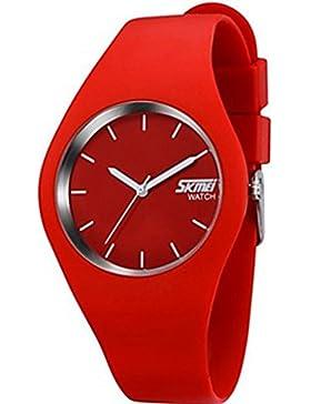 YPS Mode Damen Silikon-Quarz-Armbanduhr-Japan-Bewegung (rot) WTH2812