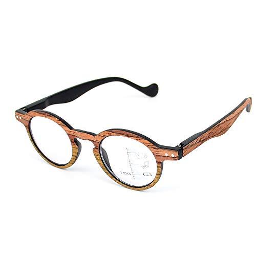 Lesebrille in Holzoptik Progressive Multifocal-Brille Lesung Round Glasse Presbyopie-Brille Anti-Müdigkeit Blendschutz UV-Blocking Fashion Imitation Wood,Brown,3.0