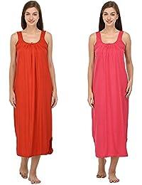 Ishita Fashions Cotton Gown Slip - Cotton Nighty - 2 PCs - Red and Pink