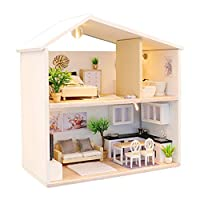 Prevently Modern Dolls House, New Cute DIY Wooden House Furniture Handcraft Miniature Box Creative Gift Toy 3D Puzzle For Kids (White)